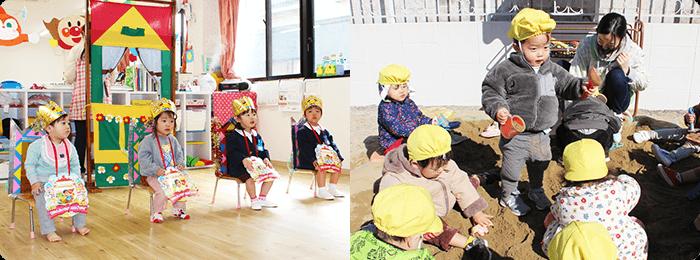 1歳児・2歳児クラスの授業や遊ぶ様子